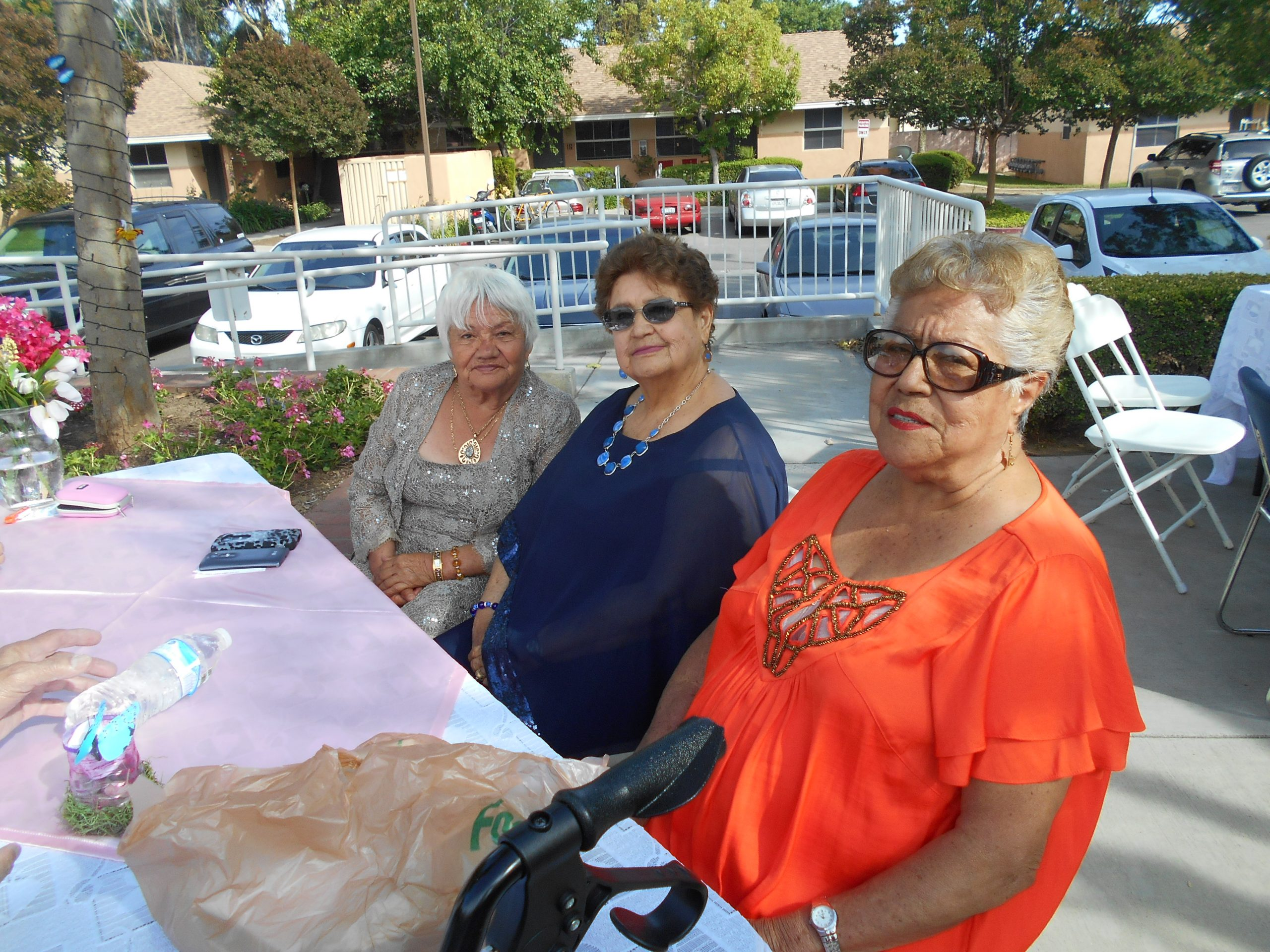 Photo of three women residents sitting outside at an event at Cambridge Gardens senior housing community.